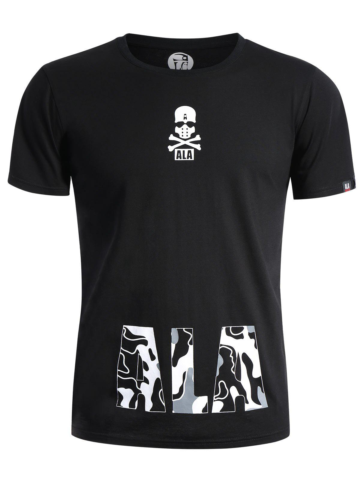 Skull Print Graphic T Shirt - BLACK XL