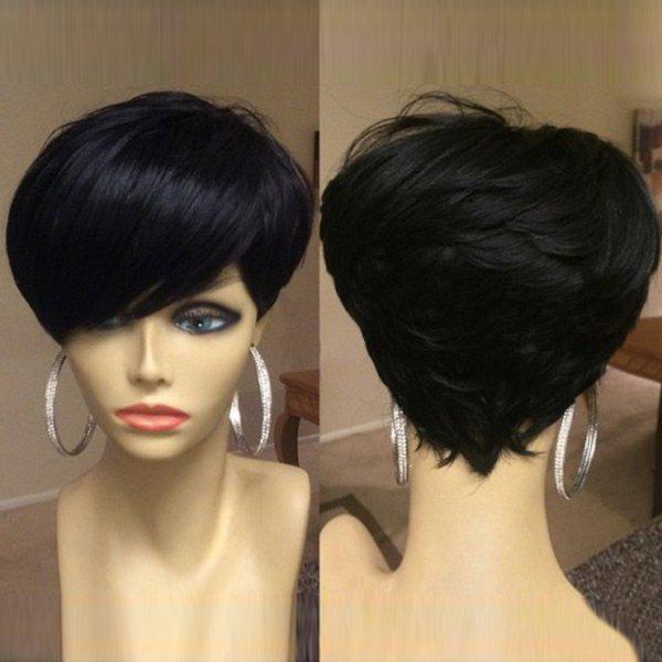 Short Inclined Bang Shaggy Layered Straight Synthetic Wig - BLACK