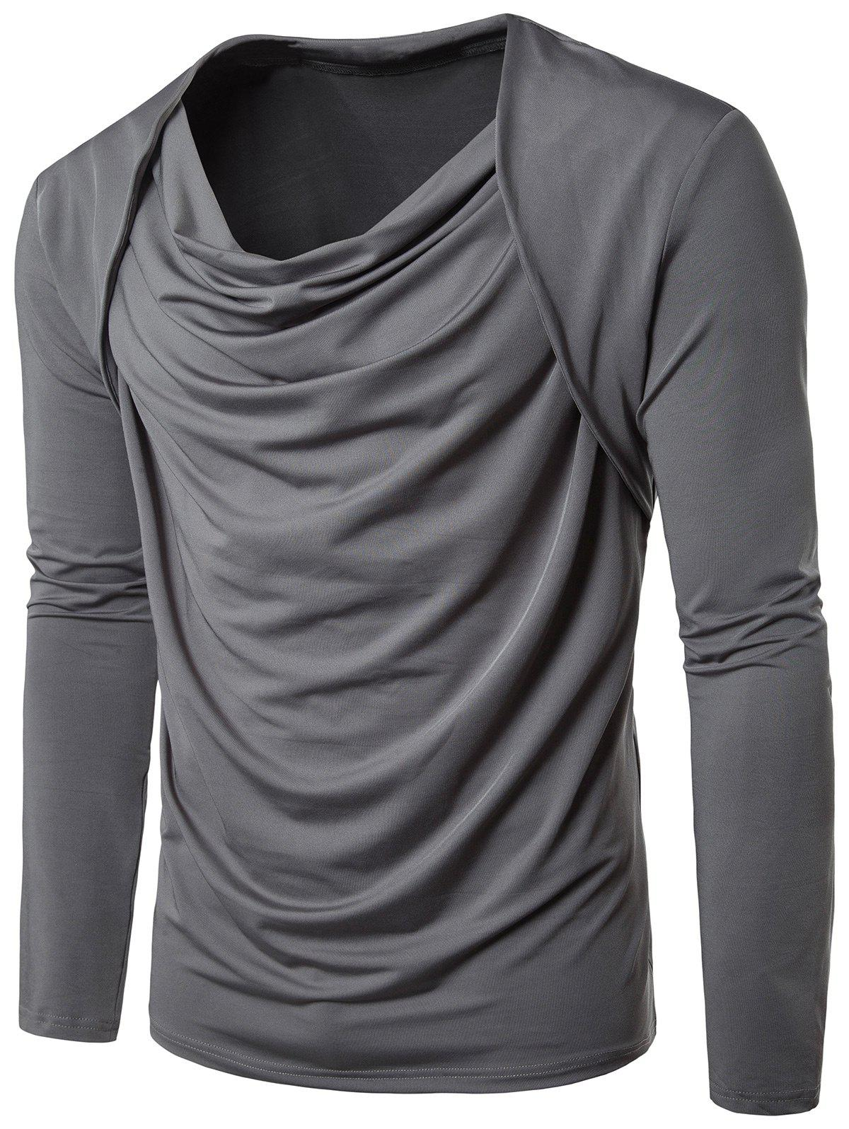 Hip Hop Pleated Cowl Neck Long Sleeve T-shirt - GRAY XL