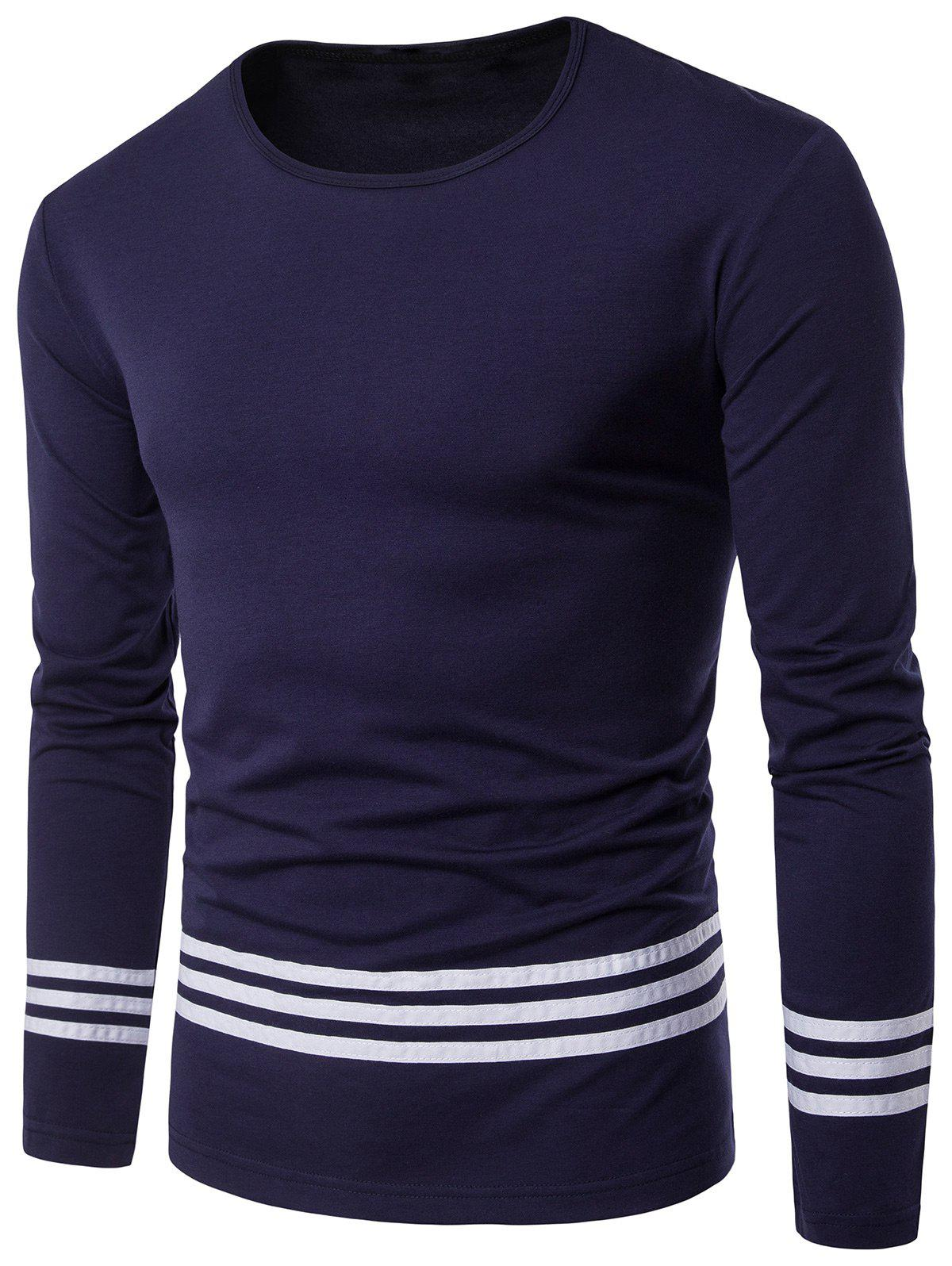 Design t shirt long sleeve - Crew Neck Long Sleeve Striped Design T Shirt Cadetblue M