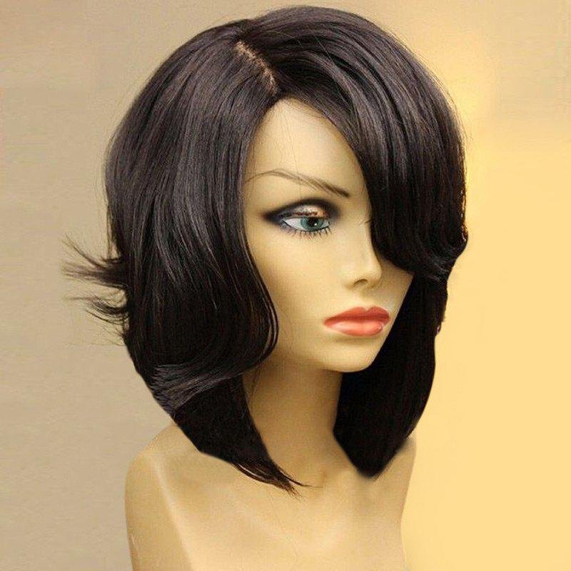 Side Part Tail Upwards Short Natural Straight Bob Synthetic Wig - BLACK