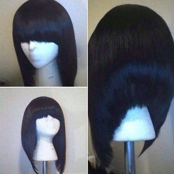 Full Bang High Low Short Straight Bob Synthetic Wig - BLACK