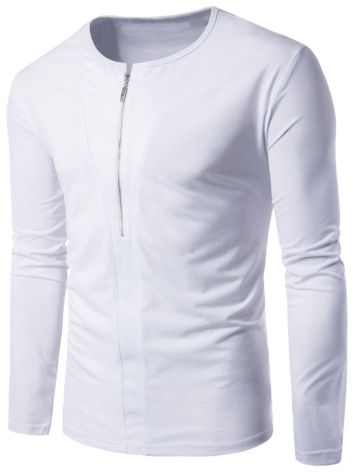 Crew Neck Long Sleeve Half Zip Up T-shirt, WHITE, M in Long ...