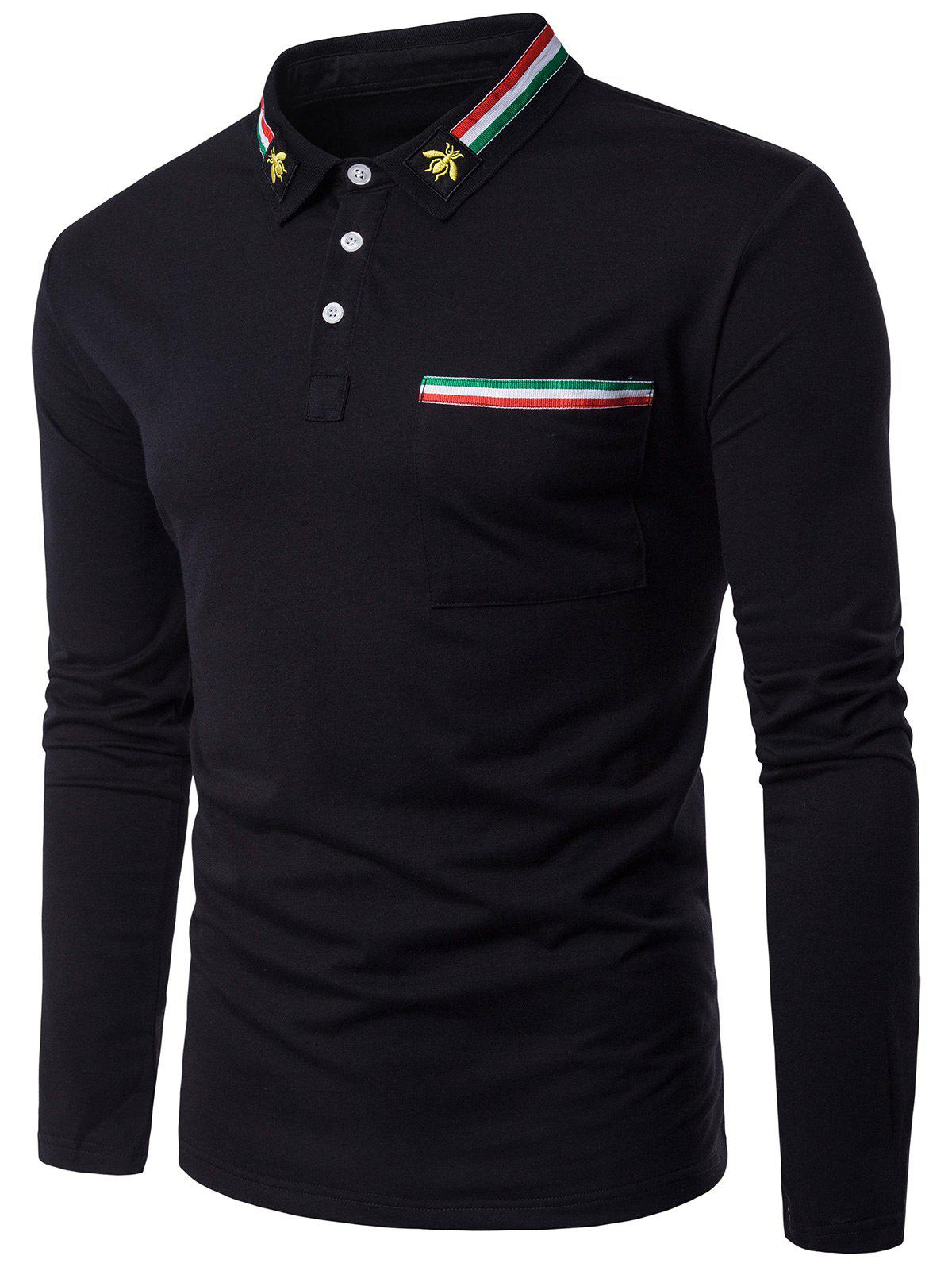 Stripe Braid Embellished Polo Collier Bee Embroidered T-shirt - Noir M