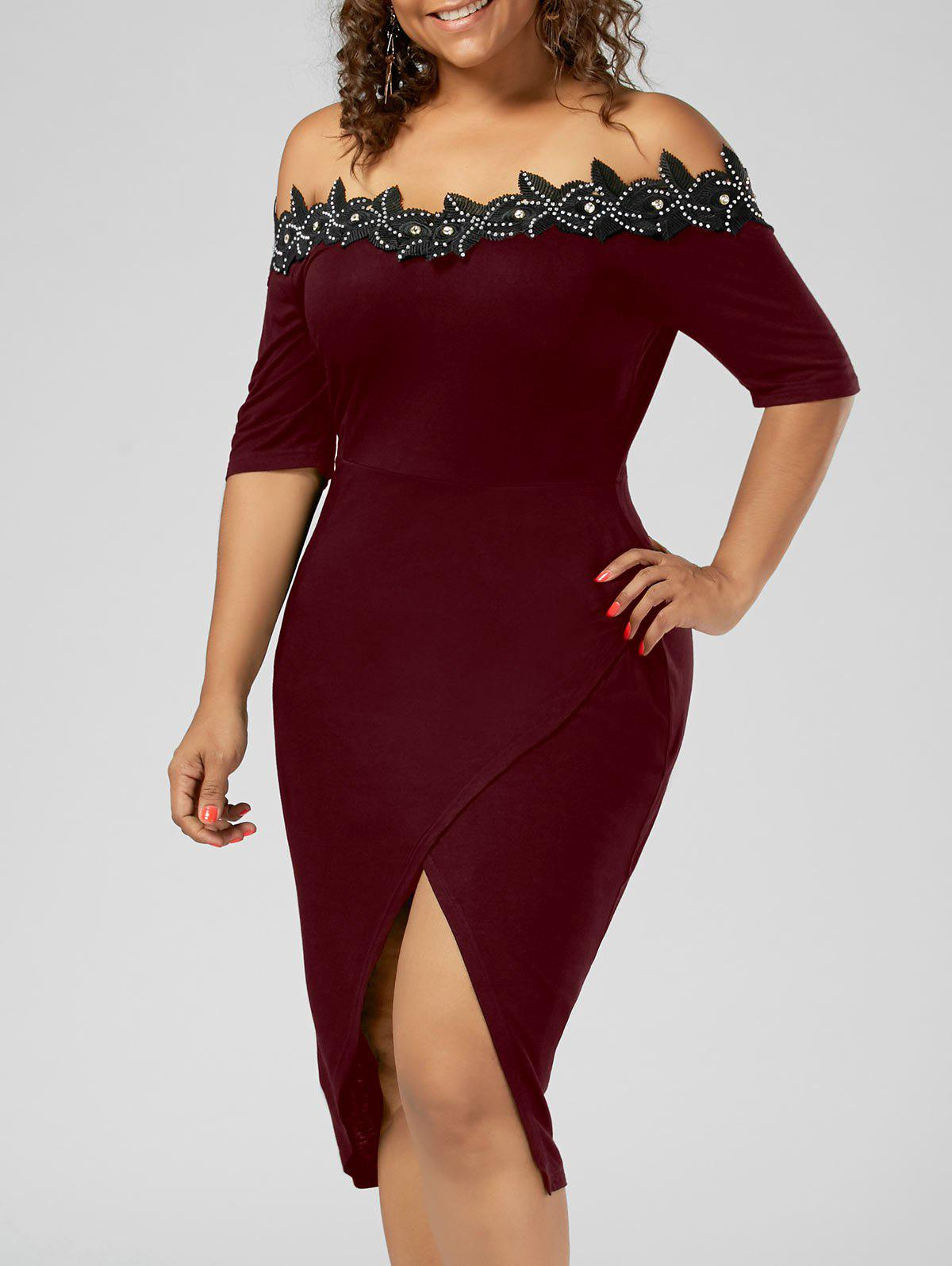Plus Size Applique Trim Pencil Dress - WINE RED 2XL