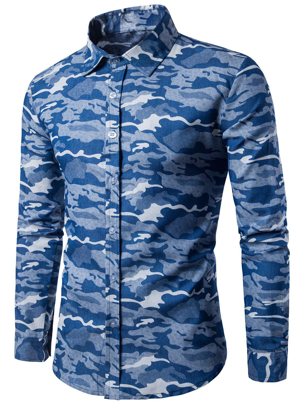 Camouflage Long Sleeve Denim Shirt - LIGHT BLUE XL