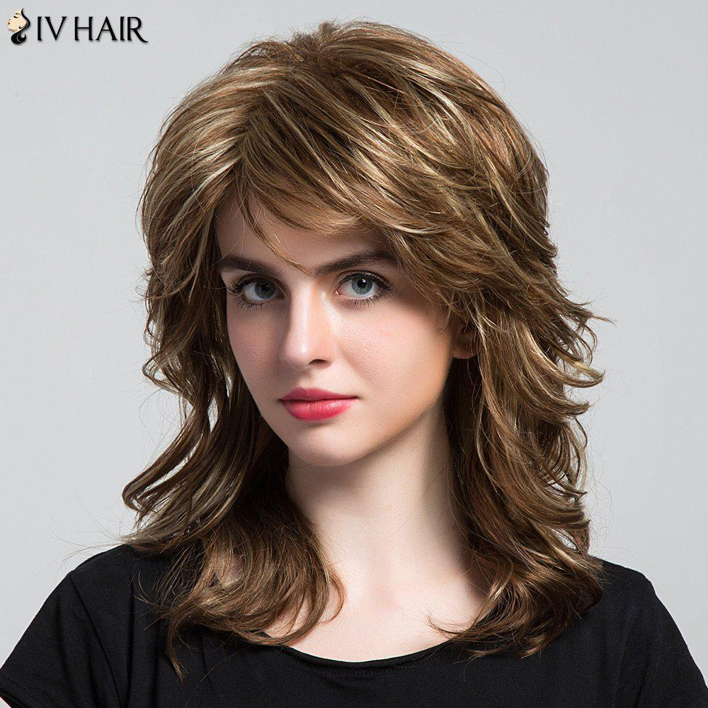 Siv Hair Long Highlight Side Bang Layered Wavy Human Hair Wig - COLORMIX
