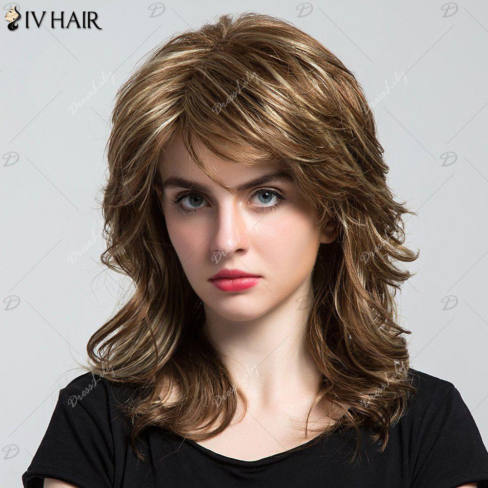 Siv Hair Long Highlight Side Bang Layered Wavy cheveux humains perruque - multicolorcolore