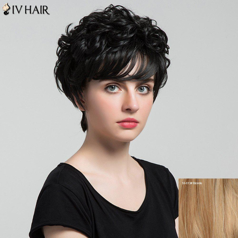 Siv Hair Short Incliné Bang Shaggy Curly Layered Hair Hair Wig - Blonde