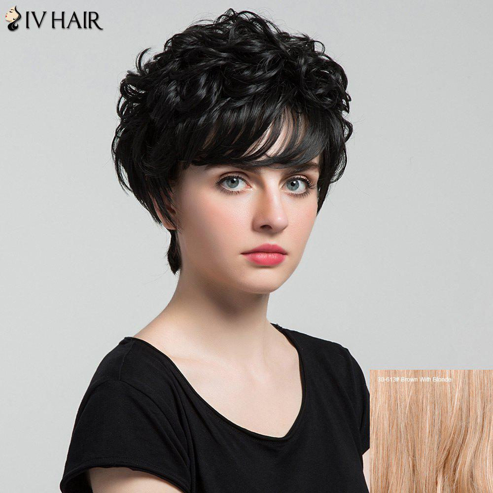 Siv Hair Short Incliné Bang Shaggy Curly Layered Hair Hair Wig - / Brown Avec Blonde