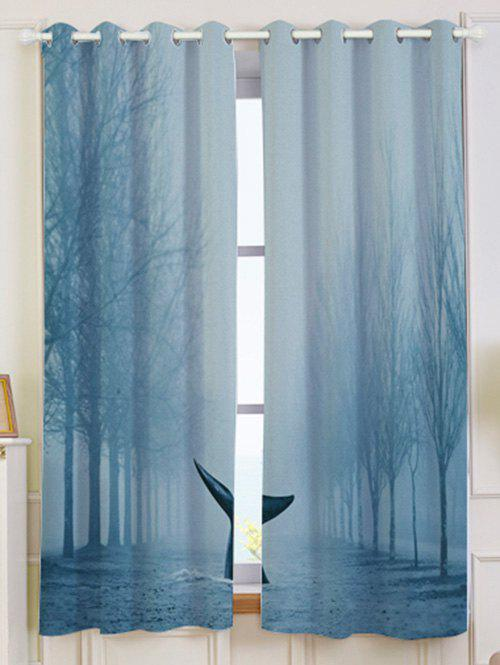 Mist Whale Blackout Screen 2 Pieces Window Curtain - LIGHT BLUE W53 INCH * L63 INCH