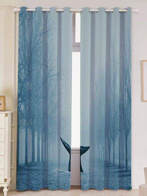 Mist Whale Blackout Screen 2 Pieces Window Curtain - LIGHT BLUE W53 INCH * L84.5 INCH