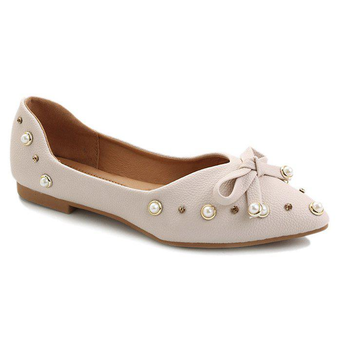 Faux Pearl Bowknot Point Toe Rhinestone Flats - Beige 37 top quality free shipping shop for buy cheap best place free shipping classic XX8zD94bjS