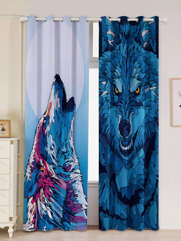 2 Panel Wolf Animal Blackout Curtain Window Screen - BLUE W53 INCH * L96.5 INCH