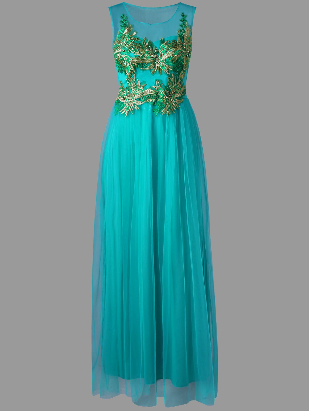 Tulle Sleeveless Floral Maxi Dress - CYAN 2XL