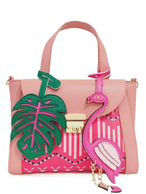 PU Leather Monstera Leaf and Flamingo Handbag - PINK