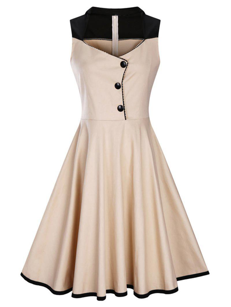 A Line Sleeveless Vintage Plus Size Dress - BEIGE 2XL