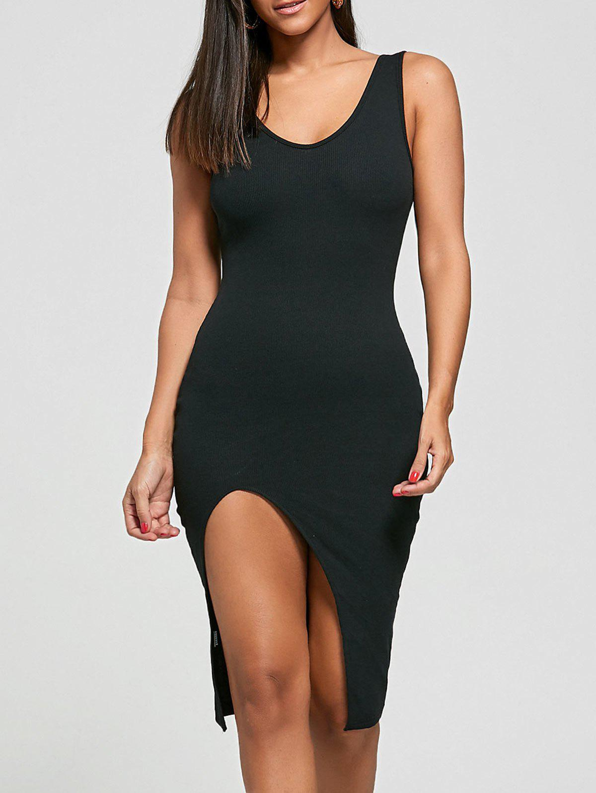 Cut Out Ribbed Bodycon Dress - BLACK ONE SIZE