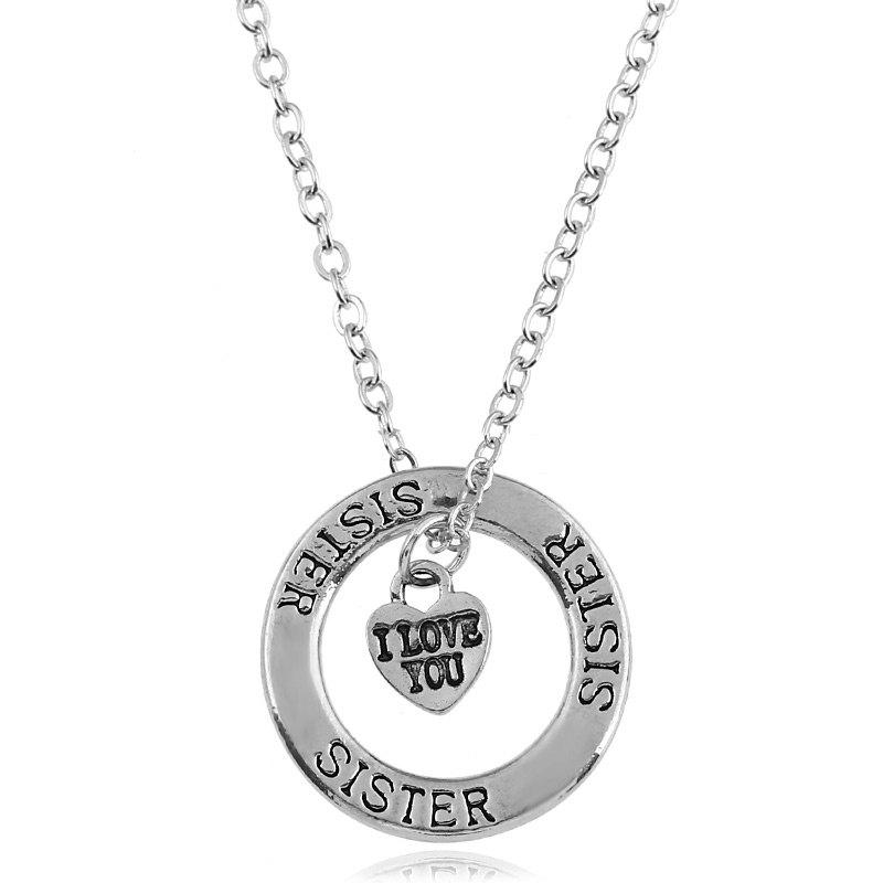 Engraved I Love You Sister Heart Necklace i love you love heart shaped keychain red