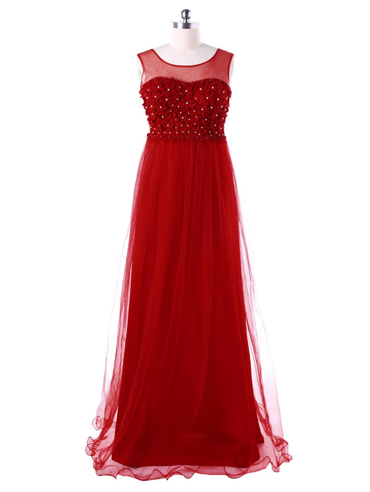 Floral Tulle Sleeveless Floor Length Dress - RED 2XL