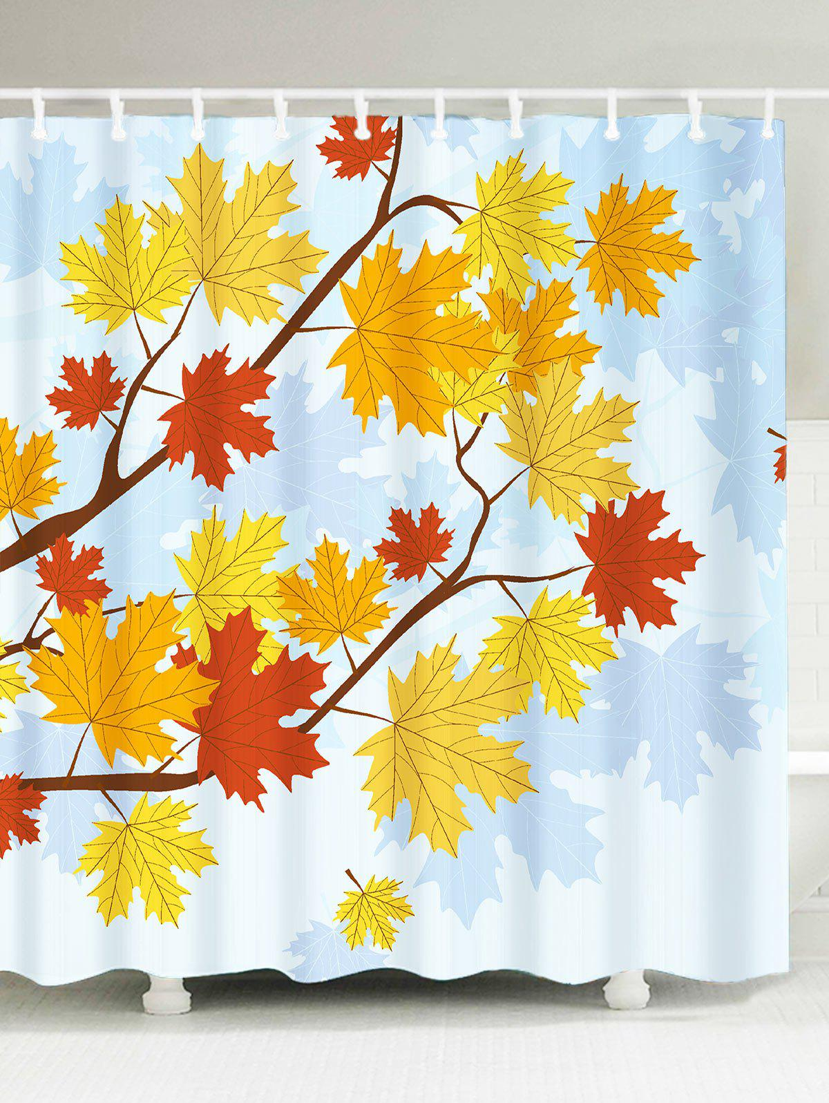 Waterproof Maple Leaf Print Shower Curtain - COLORFUL W59 INCH * L71 INCH