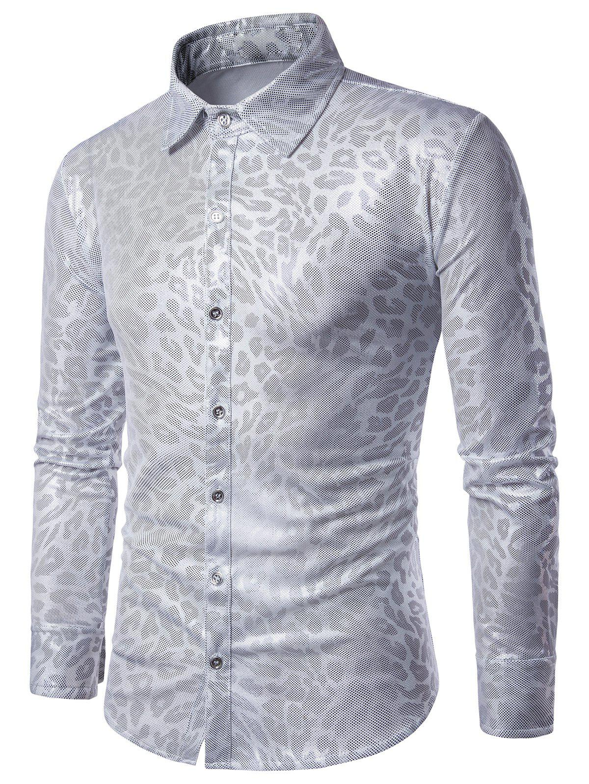 Leopard Pattern Gilding Long Sleeve Shirt - FROST 2XL