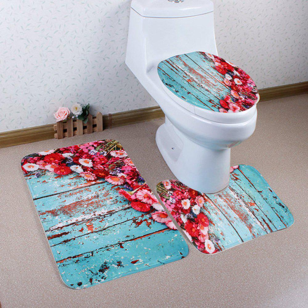 Coral Fleece Floral Plank 3Pcs Bath Mat Set - COLORMIX