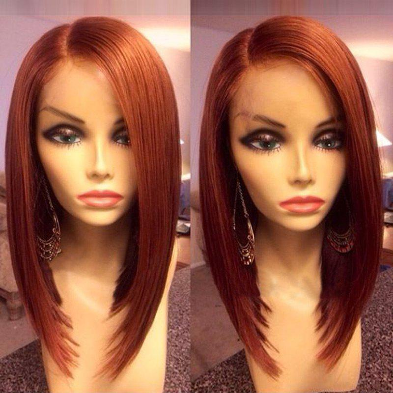 Side Parting Medium Straight Bob Synthetic Wig - DARK AUBURN