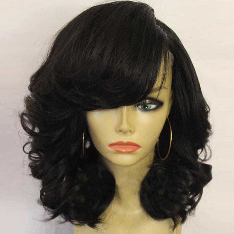 Medium Side Part Fluffy Curly Synthetic Wig - BLACK