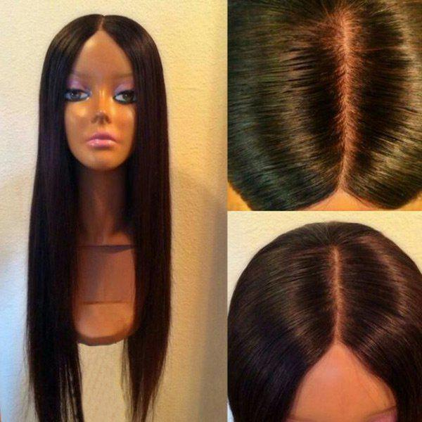 Ultra Long Center Parting Silky Straight Synthetic Wig - BLACK