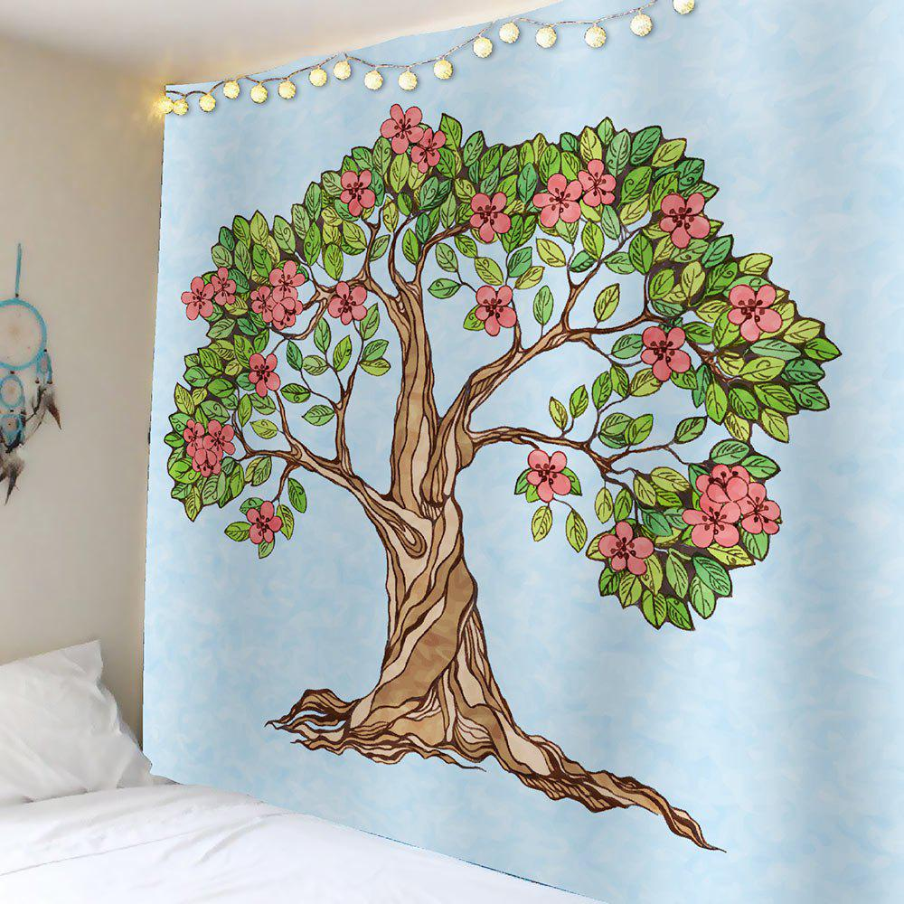 Tree of Life Floral Waterproof Wall Tapestry - LIGHT BLUE W79 INCH * L59 INCH