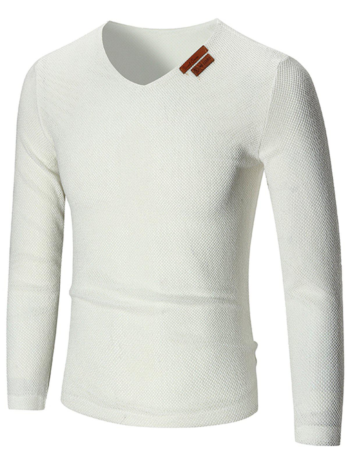 V Neck See Through Pullover Sweater - Blanc 2XL