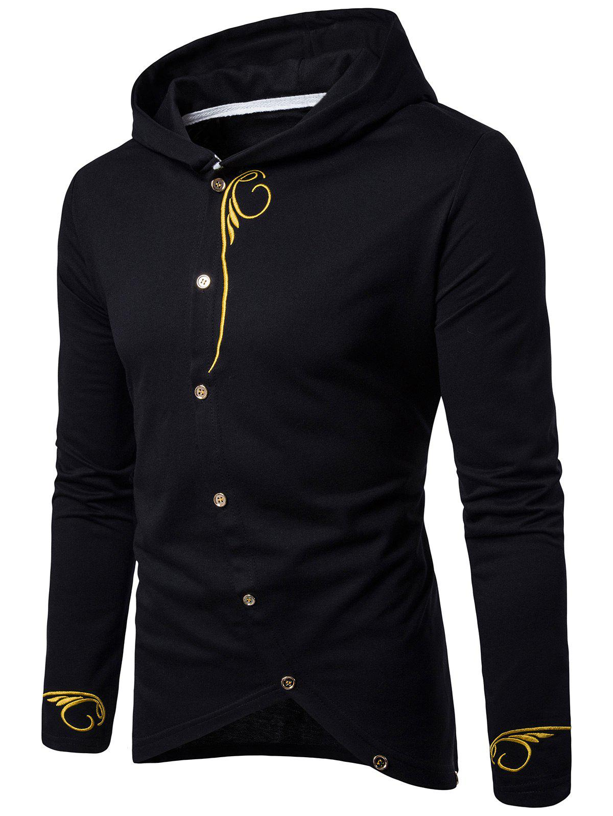 Design t shirt long sleeve - Oblique Buttons Design Embroidered Long Sleeve T Shirt Black M