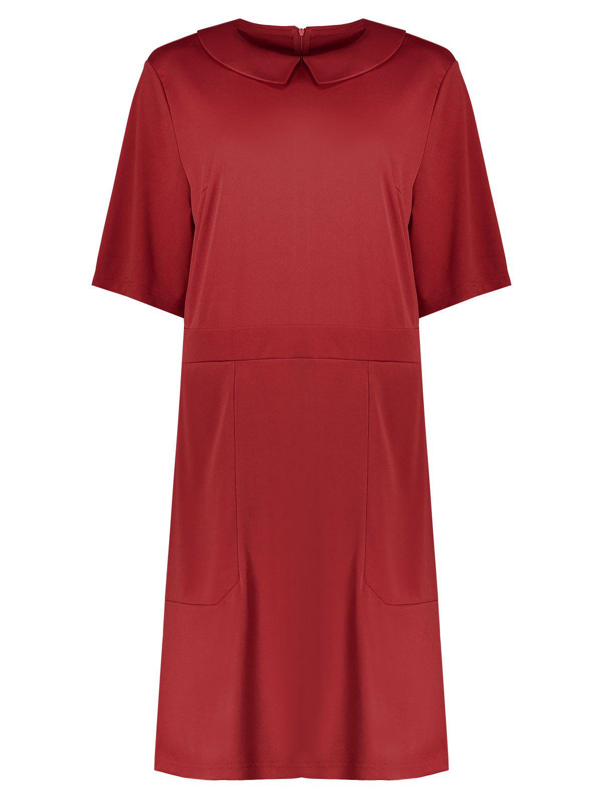 Plus Size Collared A Line Dress with Pockets - RED 2XL