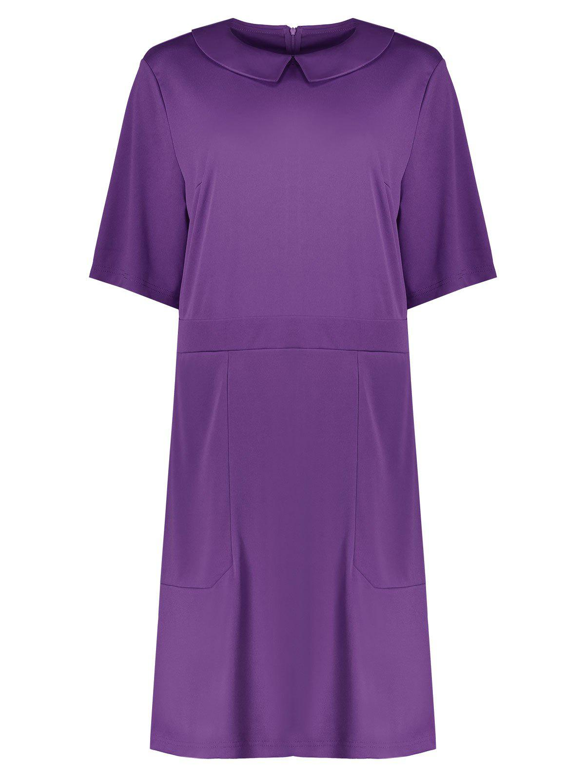 Plus Size Collared A Line Dress with Pockets - PURPLE 6XL