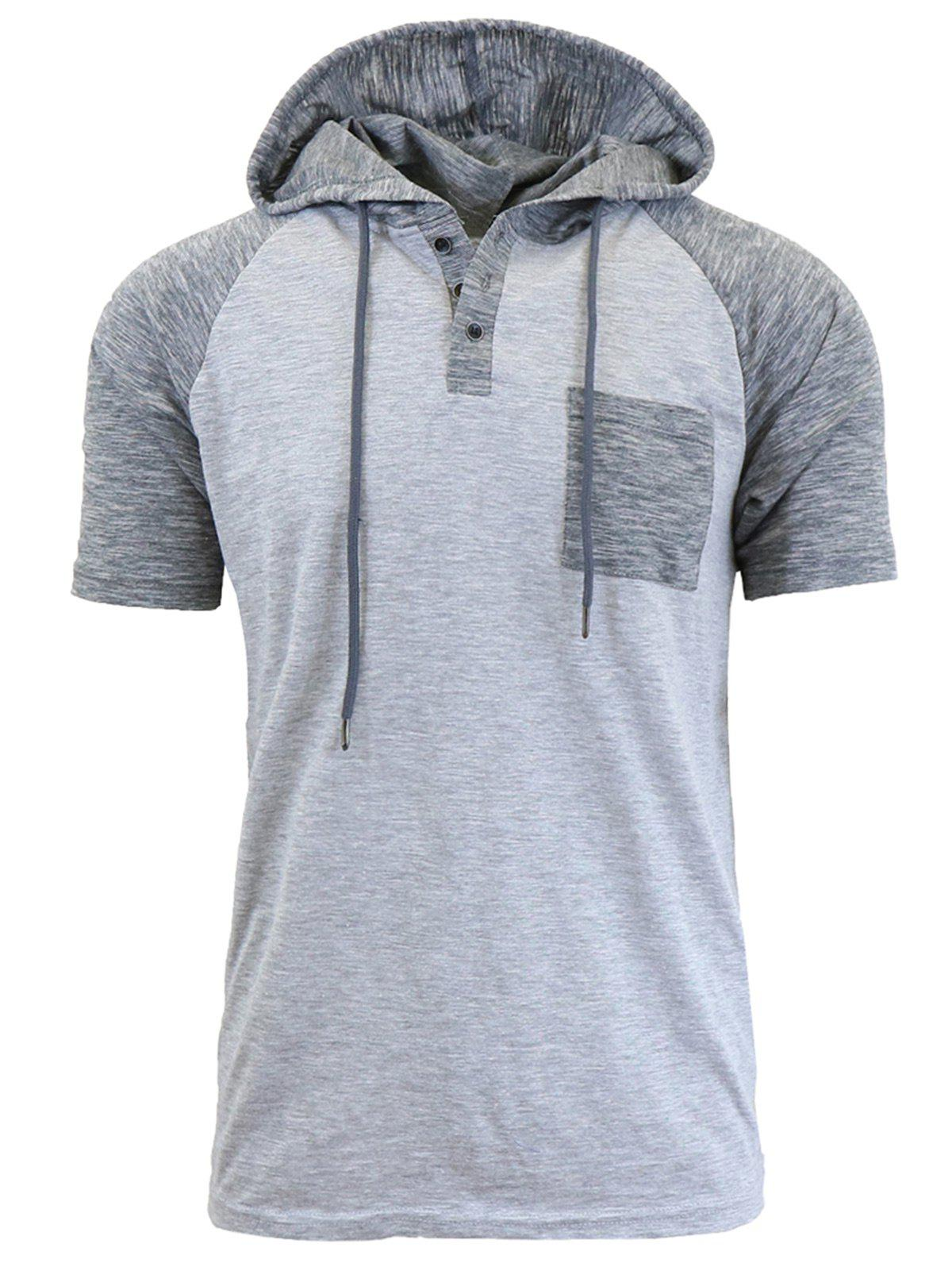 Hooded Drawstring Raglan Sleeve Panel Design T-shirt - Gris Clair L