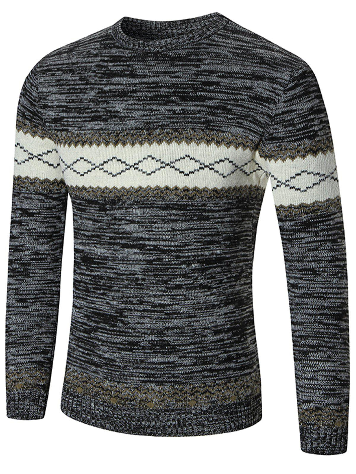 Crew Neck Rhombus Pattern Space Dyed Sweater - DEEP GRAY XL