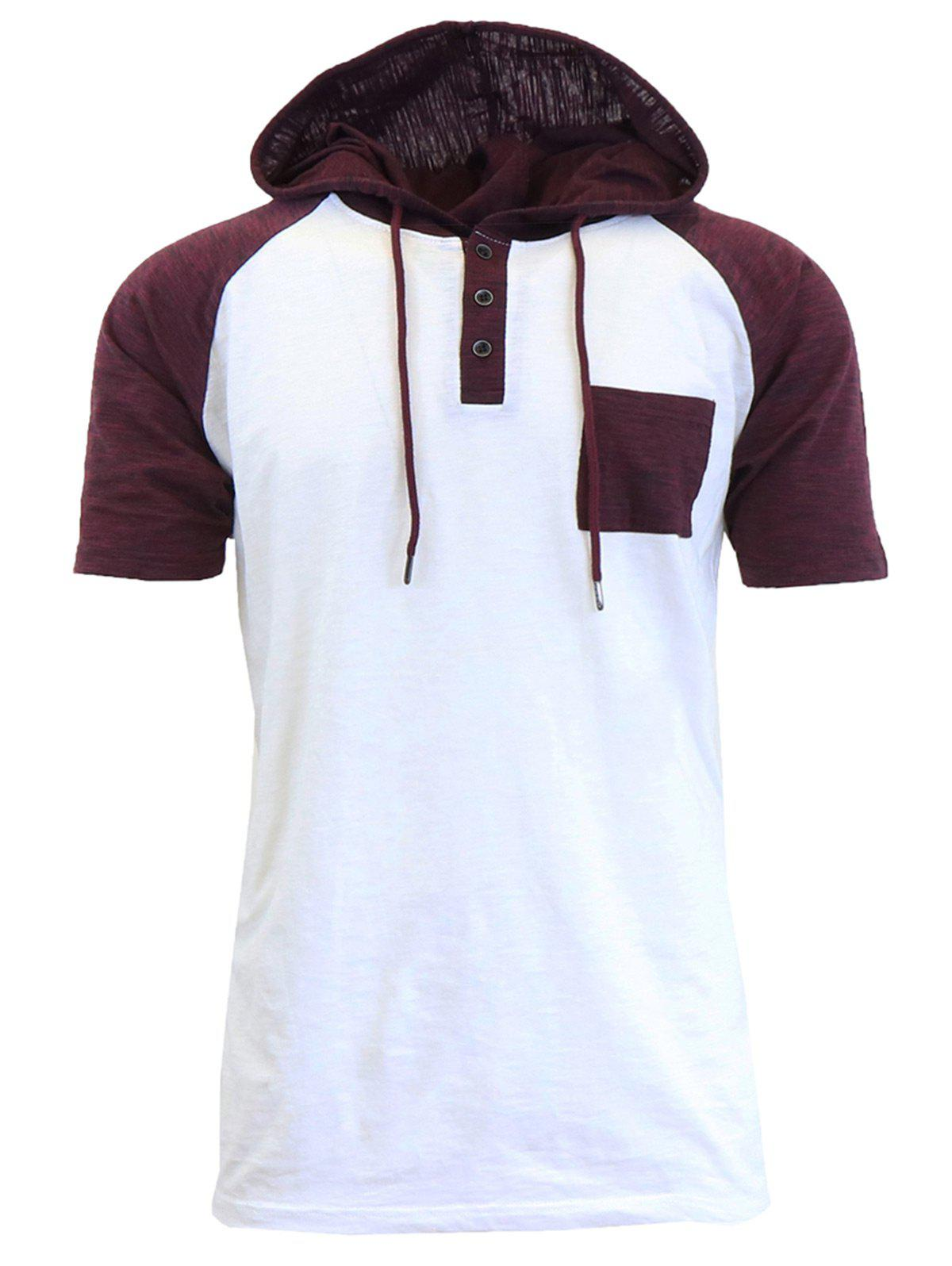Hooded Drawstring Raglan Sleeve Panel Design T-shirt - Blanc L