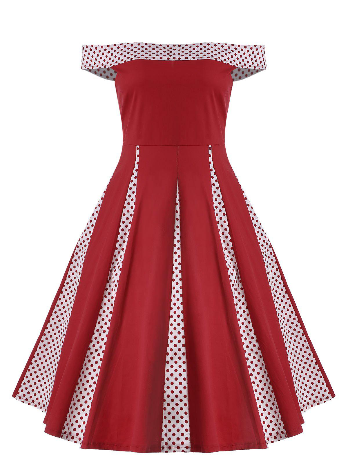 Plus Size Off The Shoulder Vintage Prom Dress - RED XL