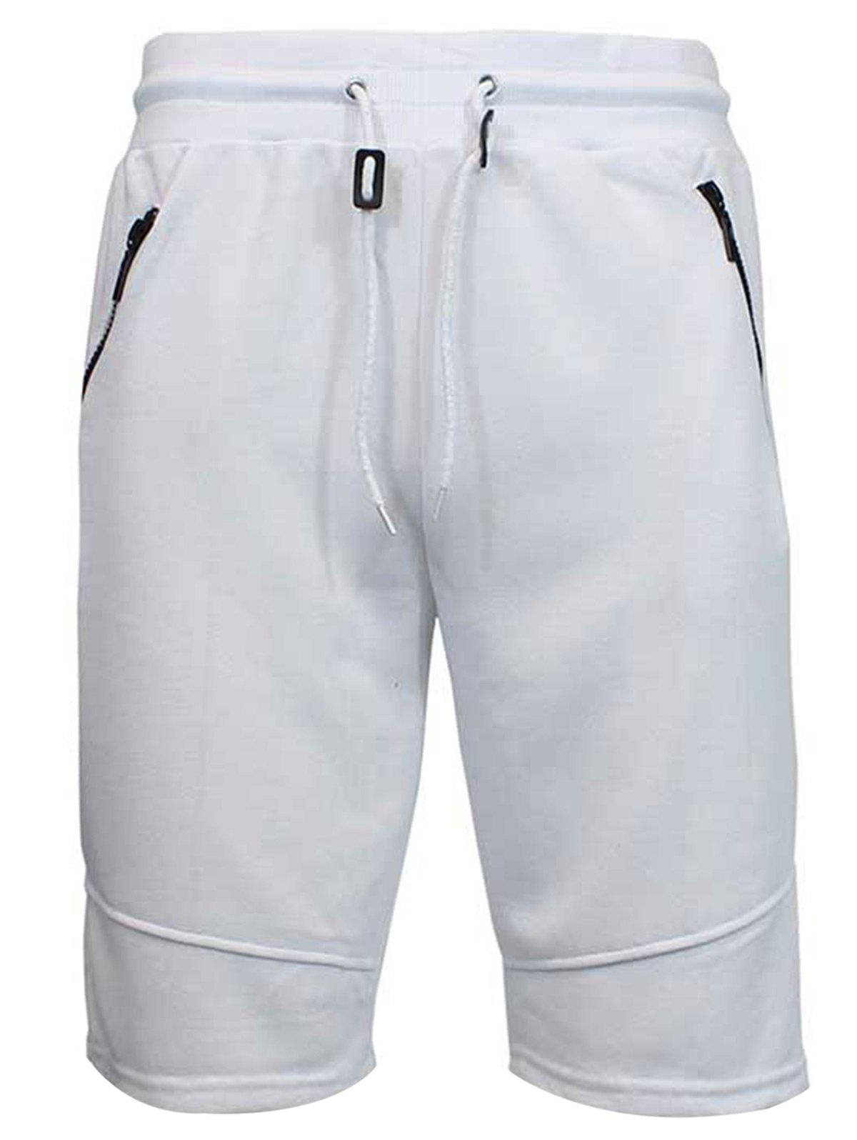 Zip Up Pockets Drawstring Sweat Capri Pants - WHITE M
