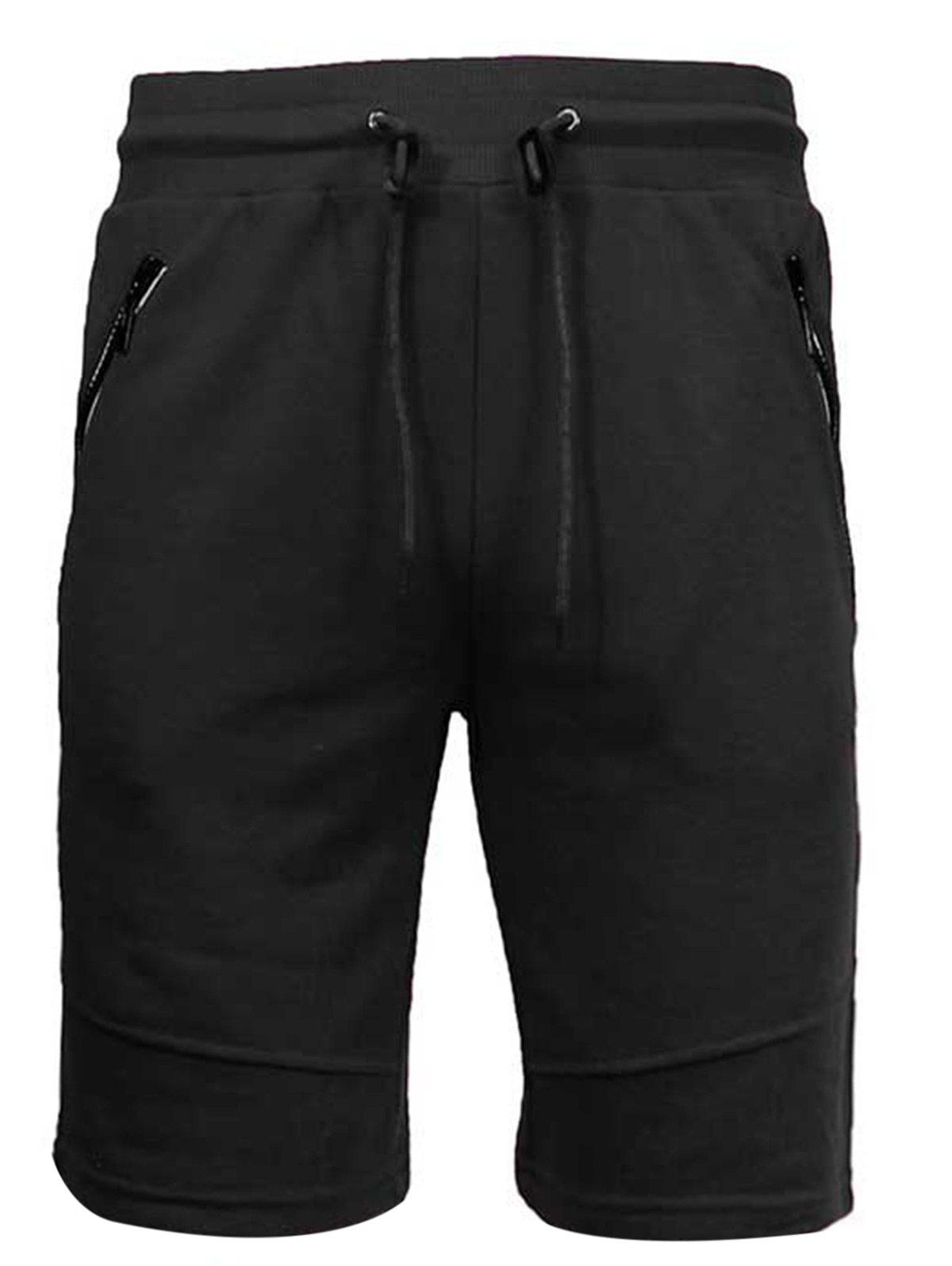 Zip Up Pockets Drawstring Sweat Capri Pants - BLACK L