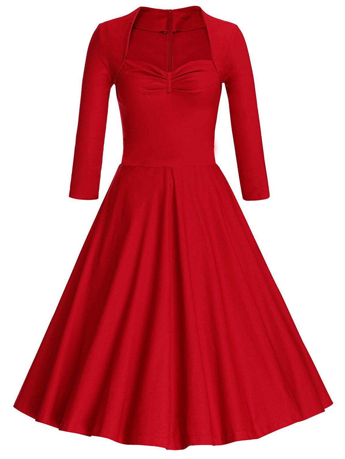 Vintage Sweetheart Neck Skater Dress - RED S