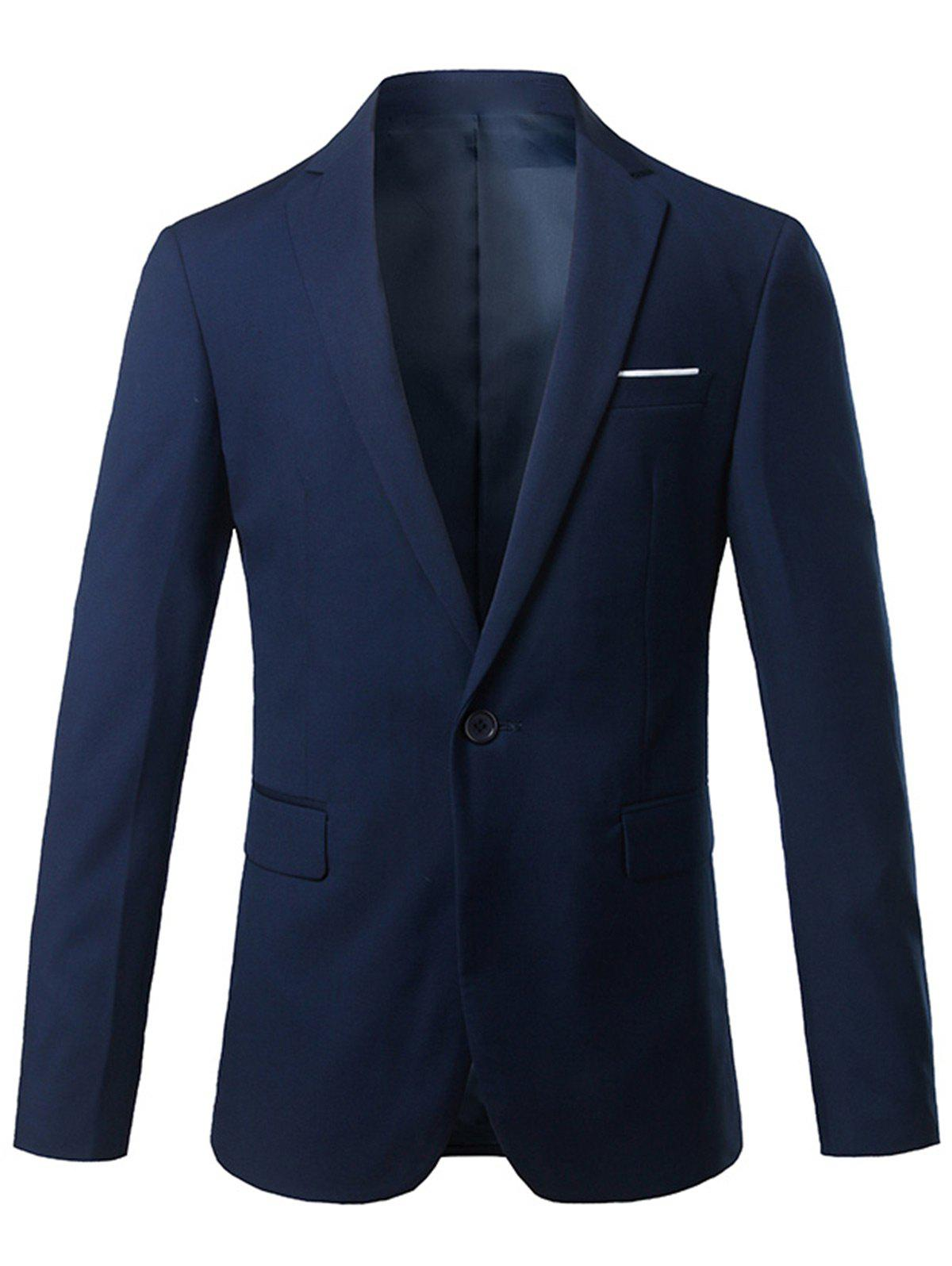 Lapel One Button Casual Blazer - Cadetblue 2XL