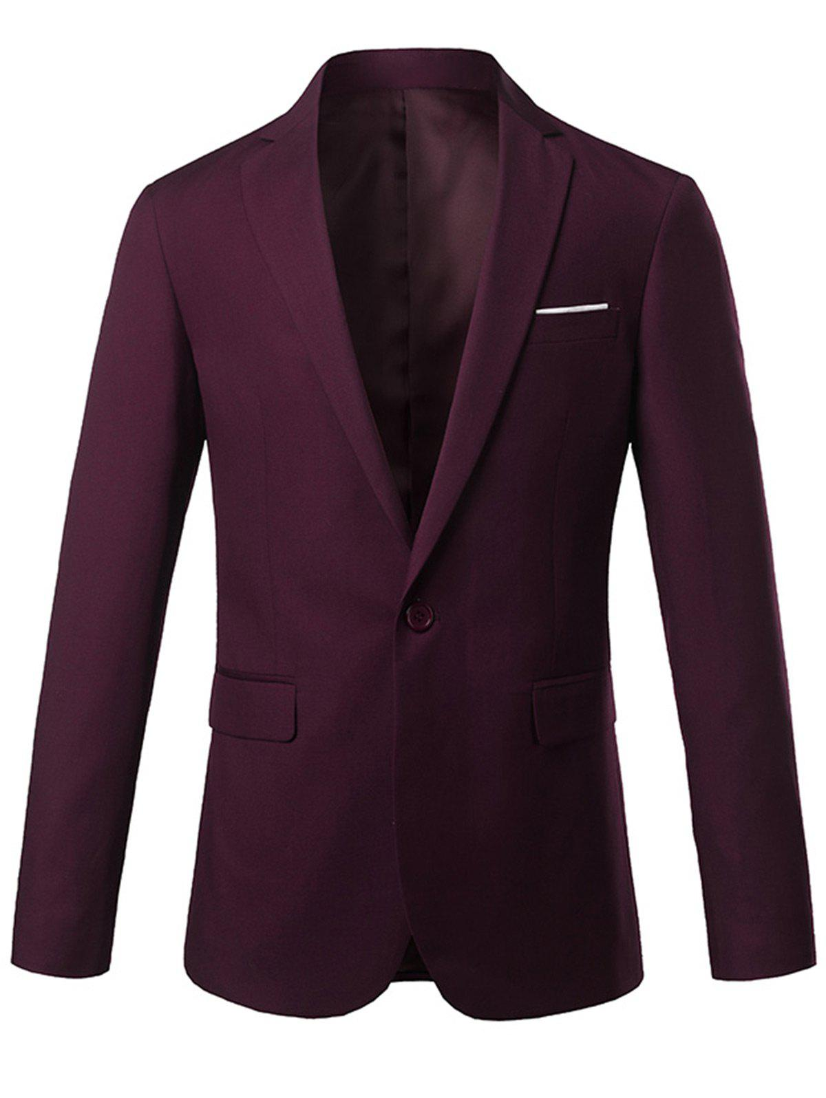 Lapel One Button Casual Blazer - Rouge vineux M