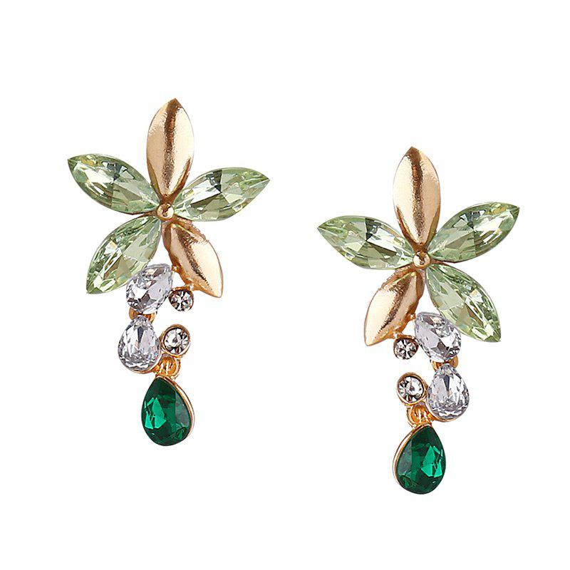 Faux Crystal Flower Necklace with Earring Set - GREEN