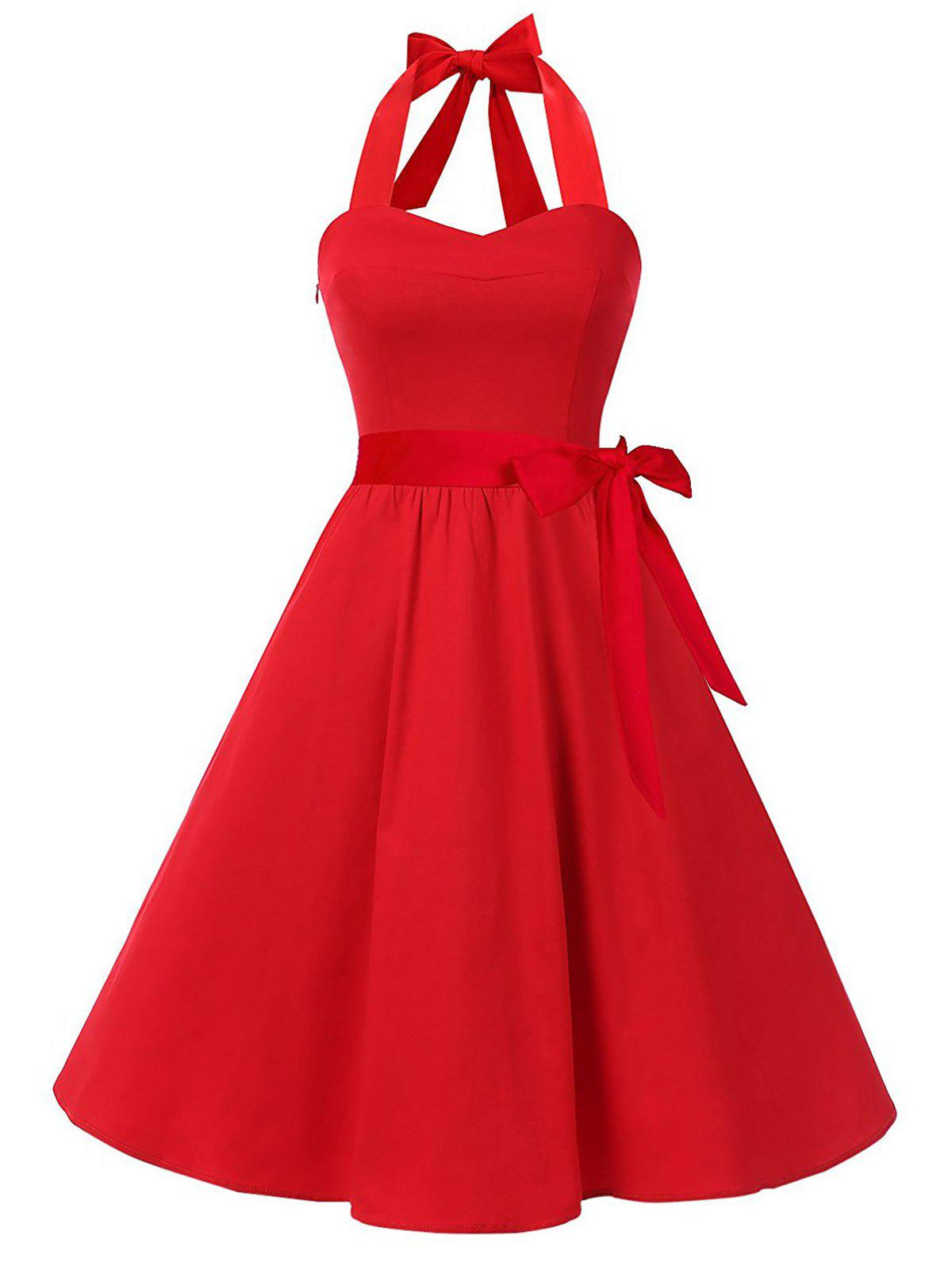 Vintage Halter Lace Up Backless Skater Dress - RED M