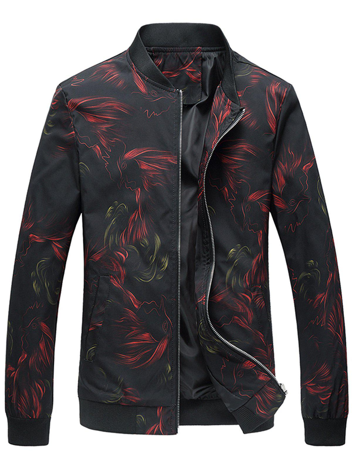 Cock Print Slim Fit Jacket - Noir 2XL