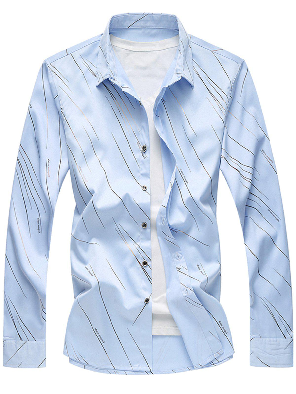 Long Sleeve Button Up Casual Shirt - BLUE 3XL