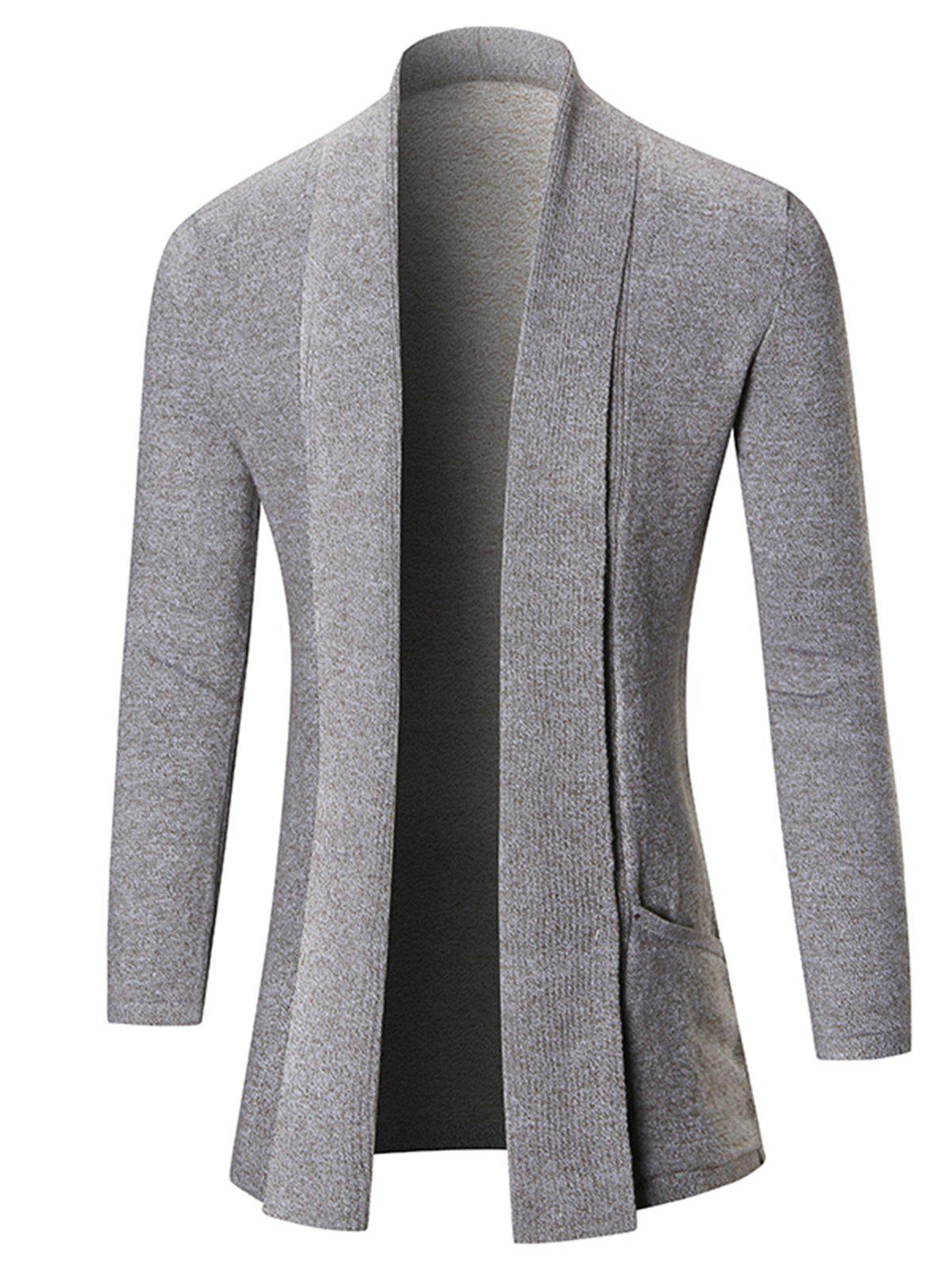 Heathered Shawl Collar Open Front Cardigan intex 134501