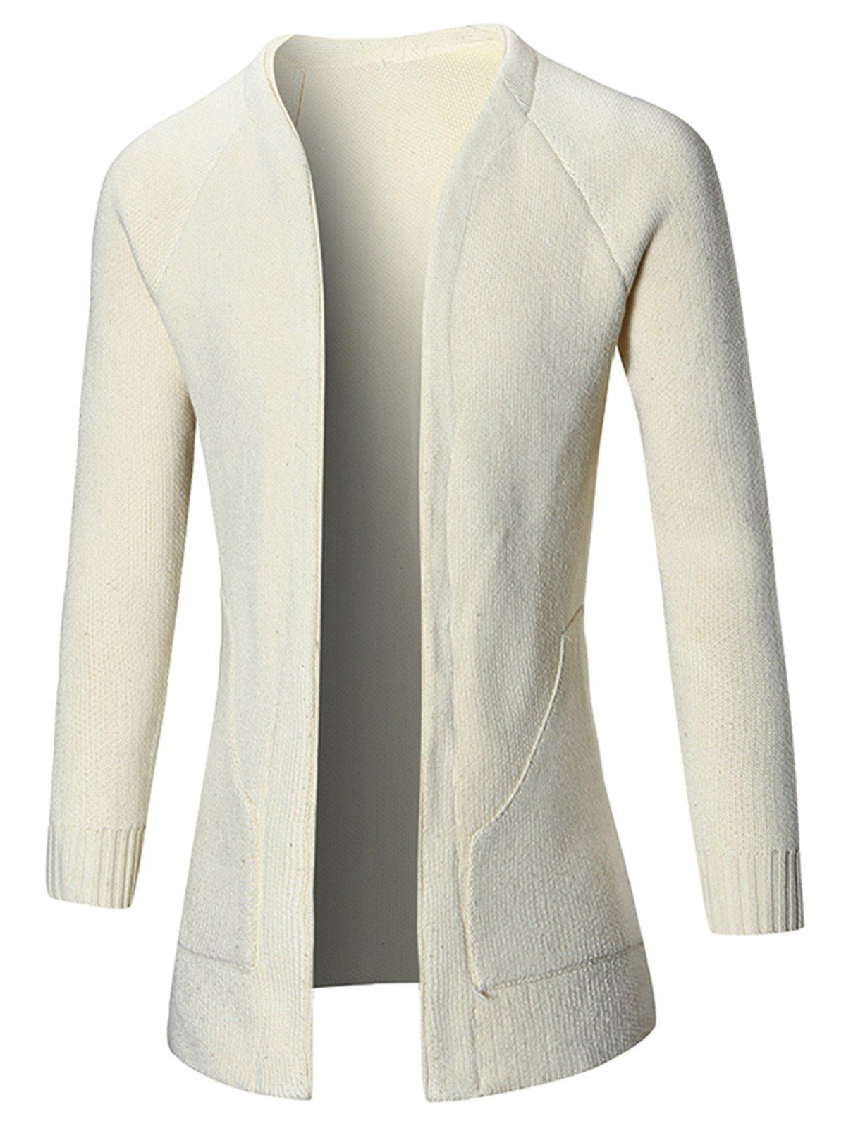 Plain Raglan Sleeve Open Front Cardigan - OFF WHITE M